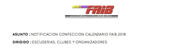 NOTIFICACION PRUEBAS CALENDARIO FAIB 2018